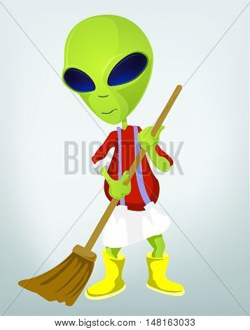 Cartoon Character Funny Alien Isolated on Grey Gradient Background. Cleaner.