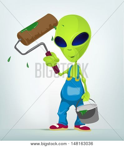 Cartoon Character Funny Alien Isolated on Grey Gradient Background. Painter.