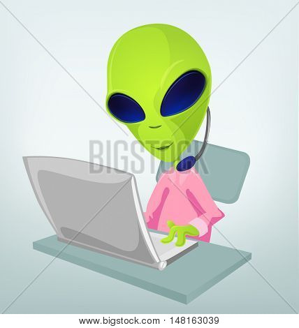 Cartoon Character Funny Alien Isolated on Grey Gradient Background. Communication.