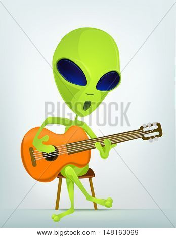 Cartoon Character Funny Alien Isolated on Grey Gradient Background. Guitarist.