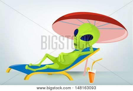 Cartoon Character Funny Alien Isolated on Grey Gradient Background. Beach.