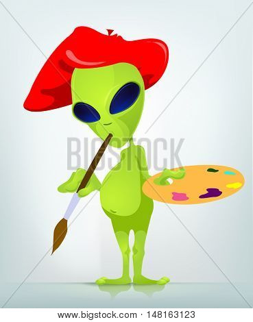 Cartoon Character Funny Alien Isolated on Grey Gradient Background. Artist.