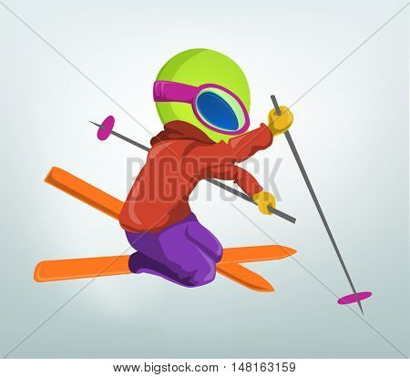 Cartoon Character Funny Alien Isolated on Grey Gradient Background. Skiing.