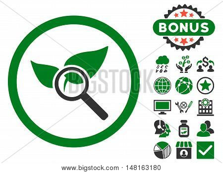 Explore Natural Drugs icon with bonus images. Vector illustration style is flat iconic bicolor symbols, green and gray colors, white background.