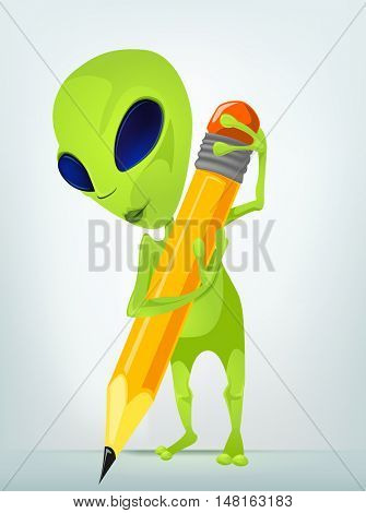 Cartoon Character Funny Alien Isolated on Grey Gradient Background. Writer .