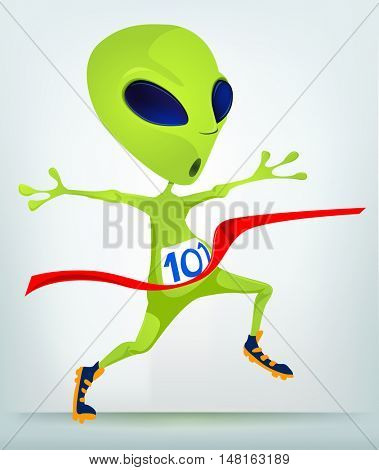 Cartoon Character Funny Alien Isolated on Grey Gradient Background. Finish.