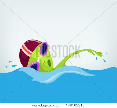 Cartoon Character Funny Alien Isolated on Grey Gradient Background. Swimmer.