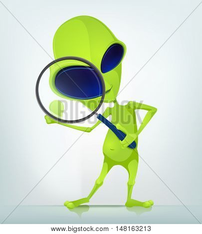 Cartoon Character Funny Alien Isolated on Grey Gradient Background. Search.