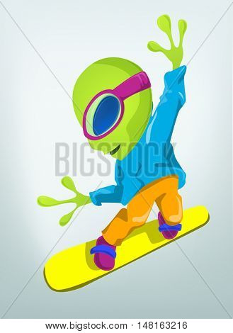Cartoon Character Funny Alien Isolated on Grey Gradient Background. Snowboarding.