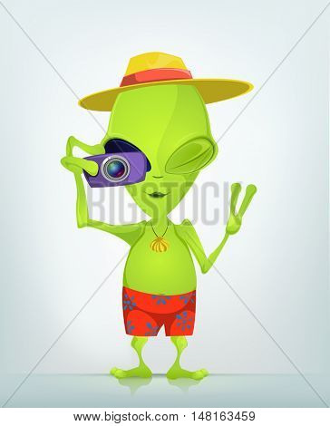 Cartoon Character Funny Alien Isolated on Grey Gradient Background. Tourist Photographer.