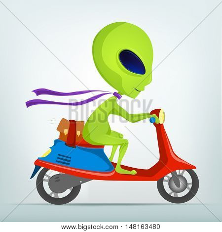 Cartoon Character Funny Alien Isolated on Grey Gradient Background. Scooter.