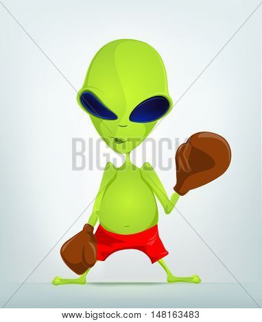 Cartoon Character Funny Alien Isolated on Grey Gradient Background. Boxing.