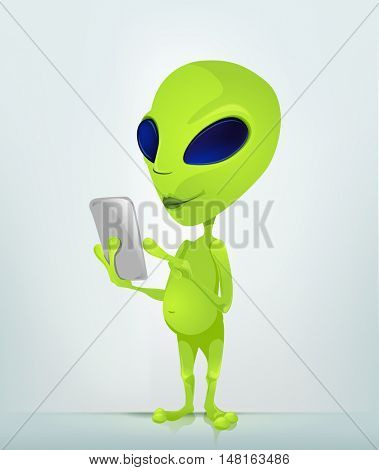 Cartoon Character Funny Alien Isolated on Grey Gradient Background. Tablet User.