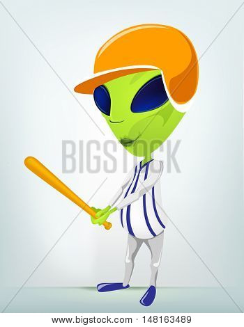 Cartoon Character Funny Alien Isolated on Grey Gradient Background. Baseball.