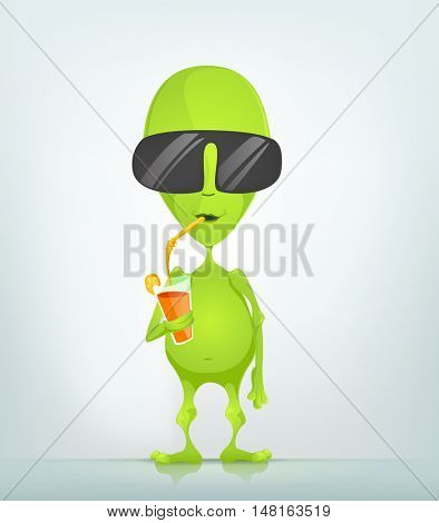 Cartoon Character Funny Alien Isolated on Grey Gradient Background. Cocktail.