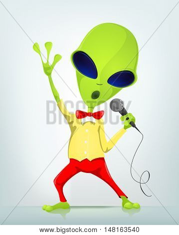Cartoon Character Funny Alien Isolated on Grey Gradient Background. Singing.