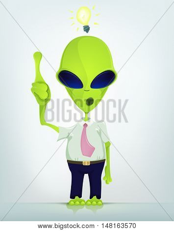 Cartoon Character Funny Alien Isolated on Grey Gradient Background. Idea.