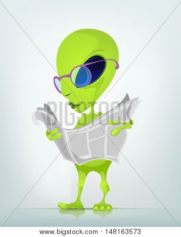 Cartoon Character Funny Alien Isolated on Grey Gradient Background. News.