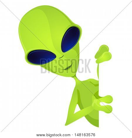 Cartoon Character Funny Alien Isolated on Grey Gradient Background. Look Out.