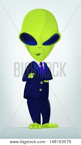 Cartoon Character Funny Alien Isolated on Grey Gradient Background. Businessmen Cross Hands.
