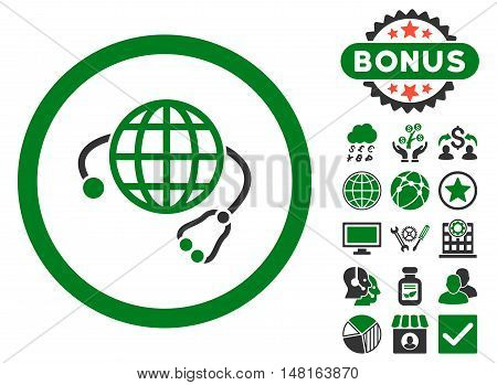 Global Medicine icon with bonus symbols. Vector illustration style is flat iconic bicolor symbols, green and gray colors, white background.