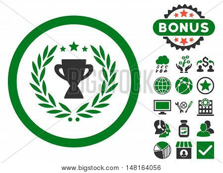 Glory icon with bonus pictogram. Vector illustration style is flat iconic bicolor symbols, green and gray colors, white background.
