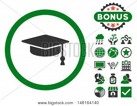 Graduation Cap icon with bonus pictogram. Vector illustration style is flat iconic bicolor symbols, green and gray colors, white background.