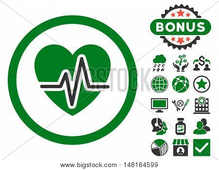 Heart Diagram icon with bonus pictogram. Vector illustration style is flat iconic bicolor symbols, green and gray colors, white background.