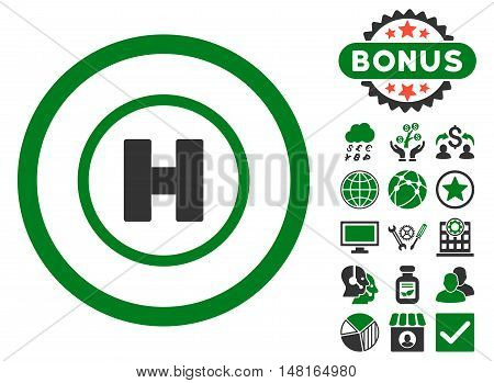 Helicopter Landing icon with bonus images. Vector illustration style is flat iconic bicolor symbols, green and gray colors, white background.