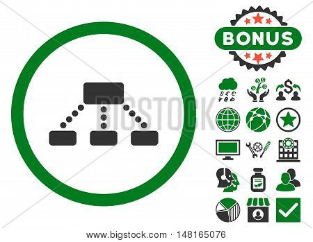 Hierarchy icon with bonus elements. Vector illustration style is flat iconic bicolor symbols, green and gray colors, white background.