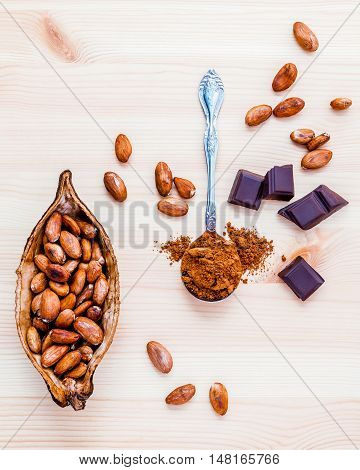 Brown Chocolate Powder In Spoon , Roasted Cocoa Beans And Dark Chocolate Setup On Wooden Background.