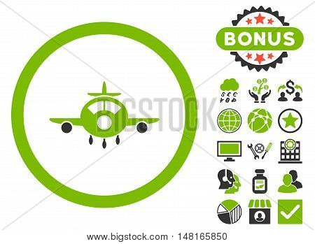 Aircraft icon with bonus pictures. Vector illustration style is flat iconic bicolor symbols, eco green and gray colors, white background.