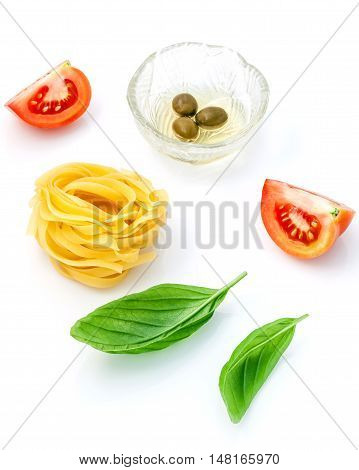 Italian Food Concept Pasta With Tomato And Sweet Basil Isolate On White Background..pasta And Ingred
