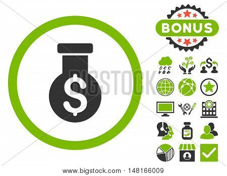 Alchemy icon with bonus pictures. Vector illustration style is flat iconic bicolor symbols, eco green and gray colors, white background.