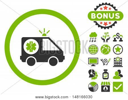Ambulance Car icon with bonus pictures. Vector illustration style is flat iconic bicolor symbols, eco green and gray colors, white background.