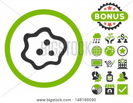 Amoeba icon with bonus design elements. Vector illustration style is flat iconic bicolor symbols, eco green and gray colors, white background.