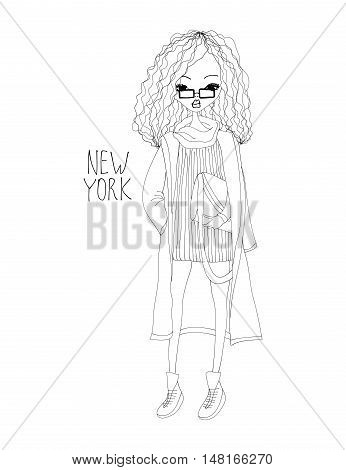 New York Fashion Illustration with a Fashion Girl Wearing Stylish Clothes. Black and White New York Typography with Hearts. Black n White New Yorker in the City