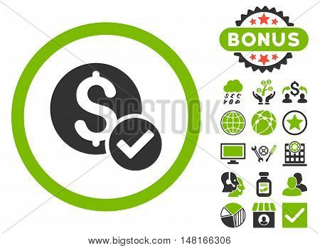 Approved Payment icon with bonus elements. Vector illustration style is flat iconic bicolor symbols, eco green and gray colors, white background.