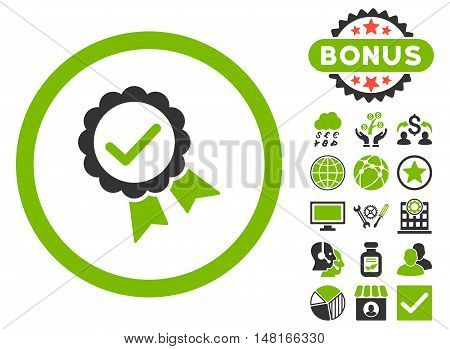 Approved icon with bonus symbols. Vector illustration style is flat iconic bicolor symbols, eco green and gray colors, white background.