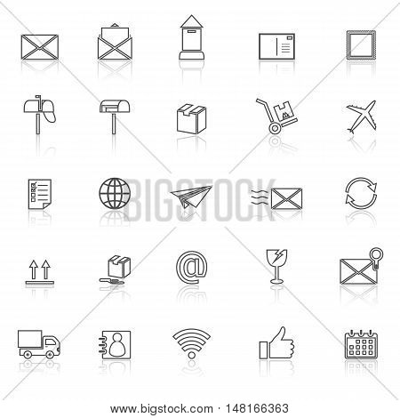 Post line icons with reflect on white background, stock vector