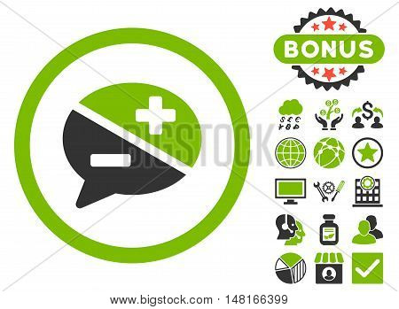 Arguments icon with bonus pictogram. Vector illustration style is flat iconic bicolor symbols, eco green and gray colors, white background.