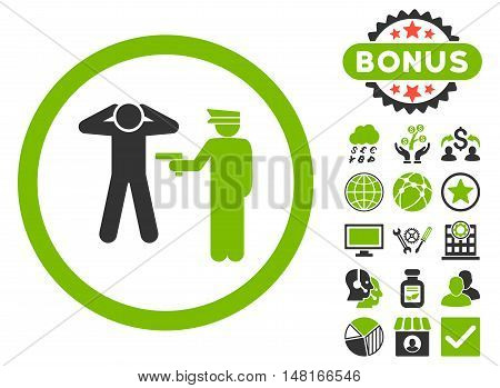 Arrest icon with bonus elements. Vector illustration style is flat iconic bicolor symbols, eco green and gray colors, white background.