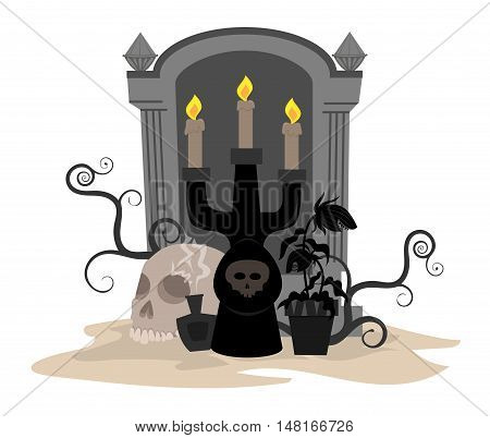 Halloween candle holder, potion, skull and carnivorous plant in front of a tombstone. Eps10