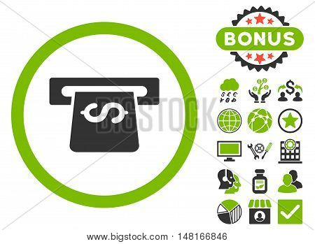 Atm icon with bonus pictures. Vector illustration style is flat iconic bicolor symbols, eco green and gray colors, white background.