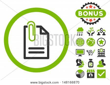 Attach Document icon with bonus pictures. Vector illustration style is flat iconic bicolor symbols, eco green and gray colors, white background.