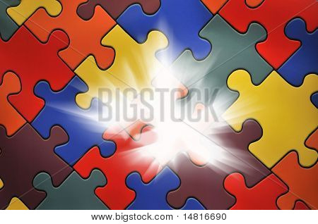 Puzzle plane - one piece missing, concept of business solution and solving problems, also background image for new idea