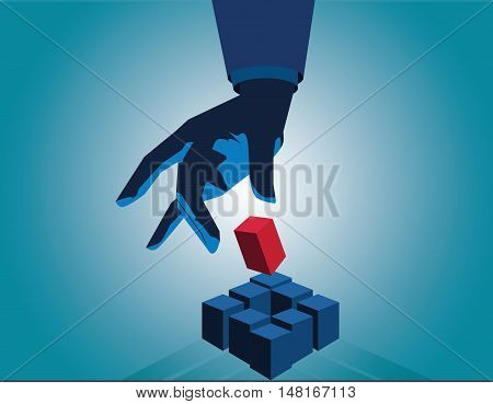 Businessman Hand Touch Cube As Symbol Of Problem Solving. Touch Red Cube. Vector Flat