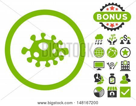 Bacteria icon with bonus symbols. Vector illustration style is flat iconic bicolor symbols, eco green and gray colors, white background.
