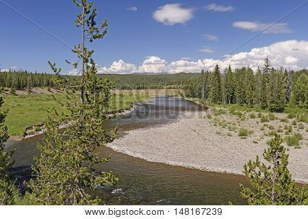 Rushing Snake River in Yellowstone National Park in Wyoming