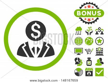 Banker icon with bonus elements. Vector illustration style is flat iconic bicolor symbols, eco green and gray colors, white background.
